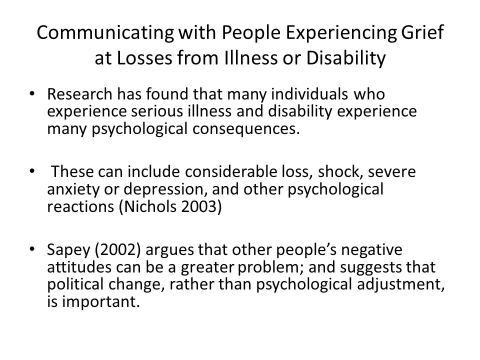 Communicating with People Experiencing Grief at Losses from Illness or Disability
