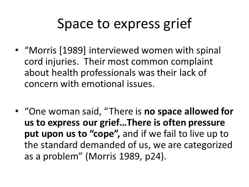 Space to express grief