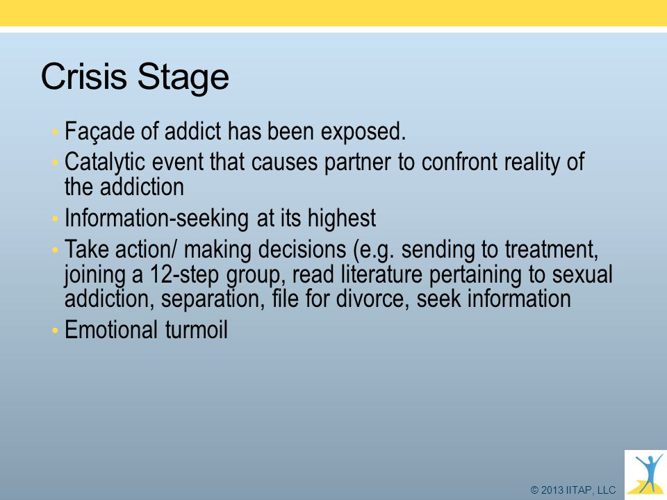 Crisis Stage Façade of addict has been exposed.