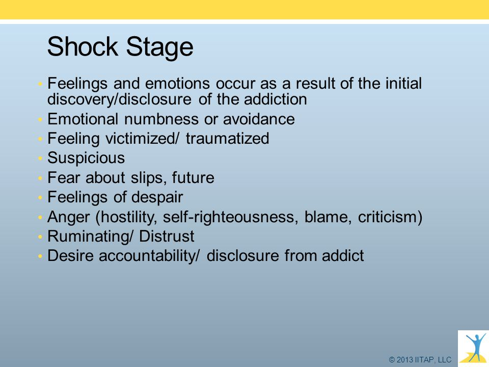 Shock Stage Feelings and emotions occur as a result of the initial discovery/disclosure of the addiction.