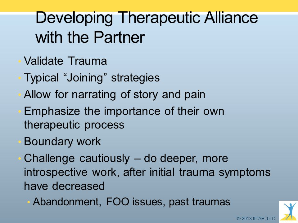 Developing Therapeutic Alliance with the Partner