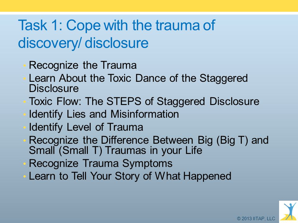 Task 1: Cope with the trauma of discovery/ disclosure