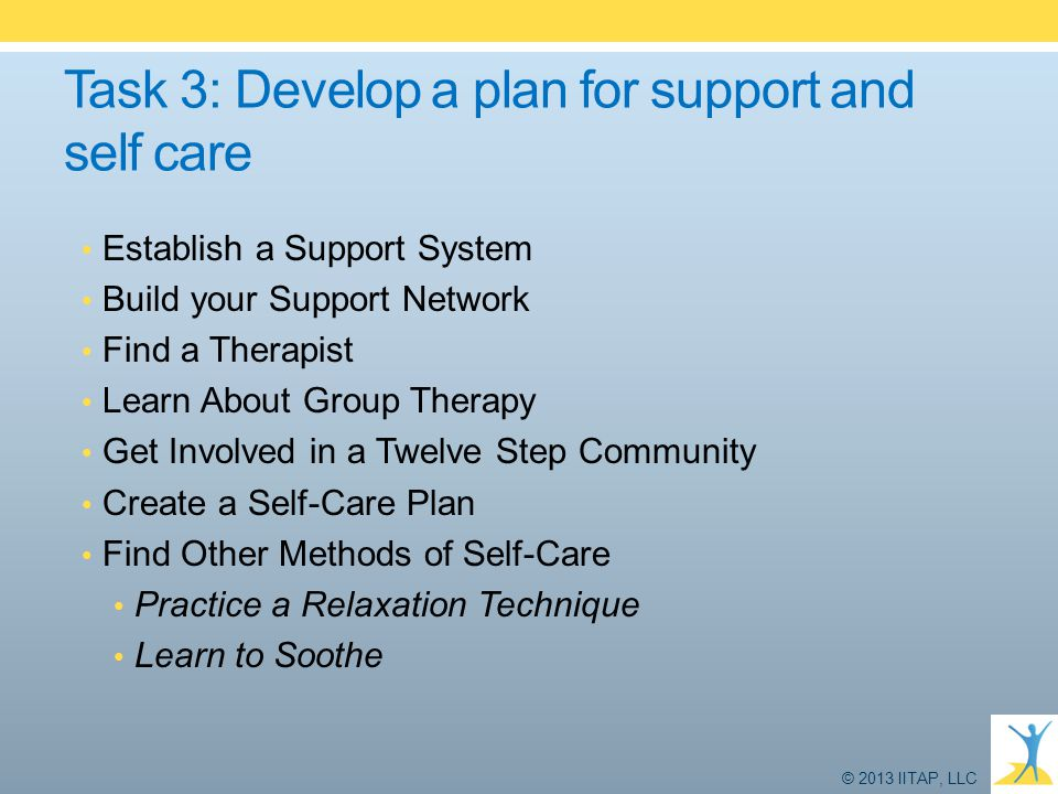 Task 3: Develop a plan for support and self care