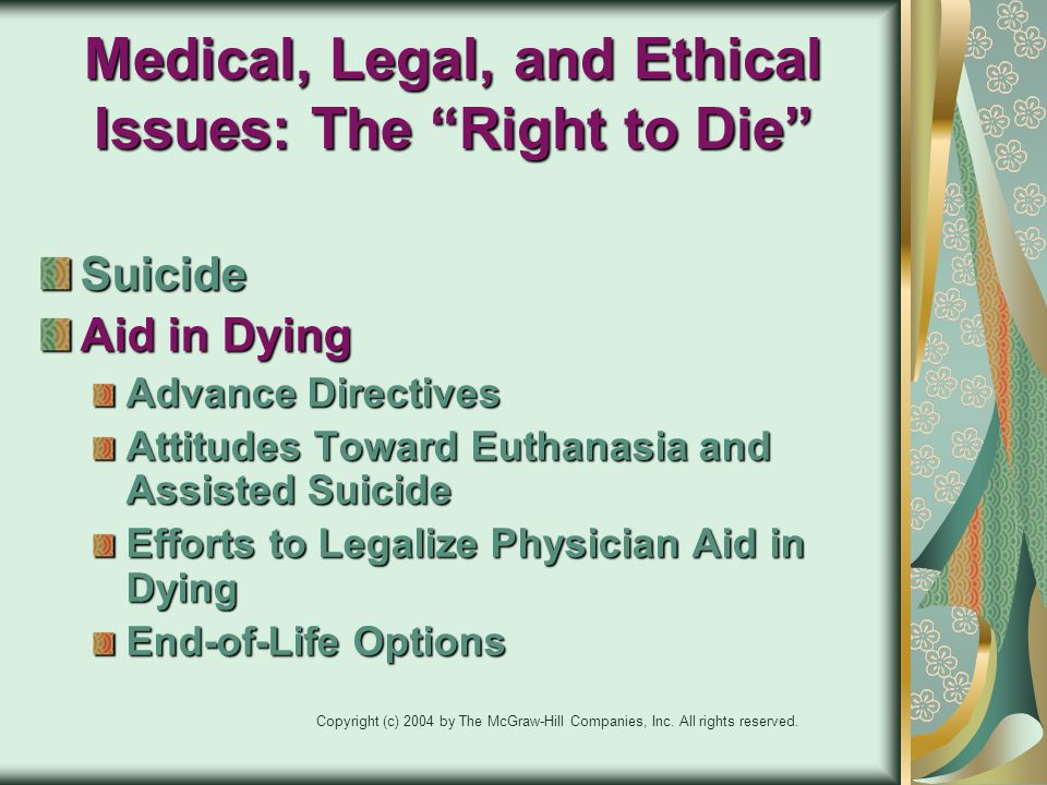 Medical, Legal, and Ethical Issues: The Right to Die