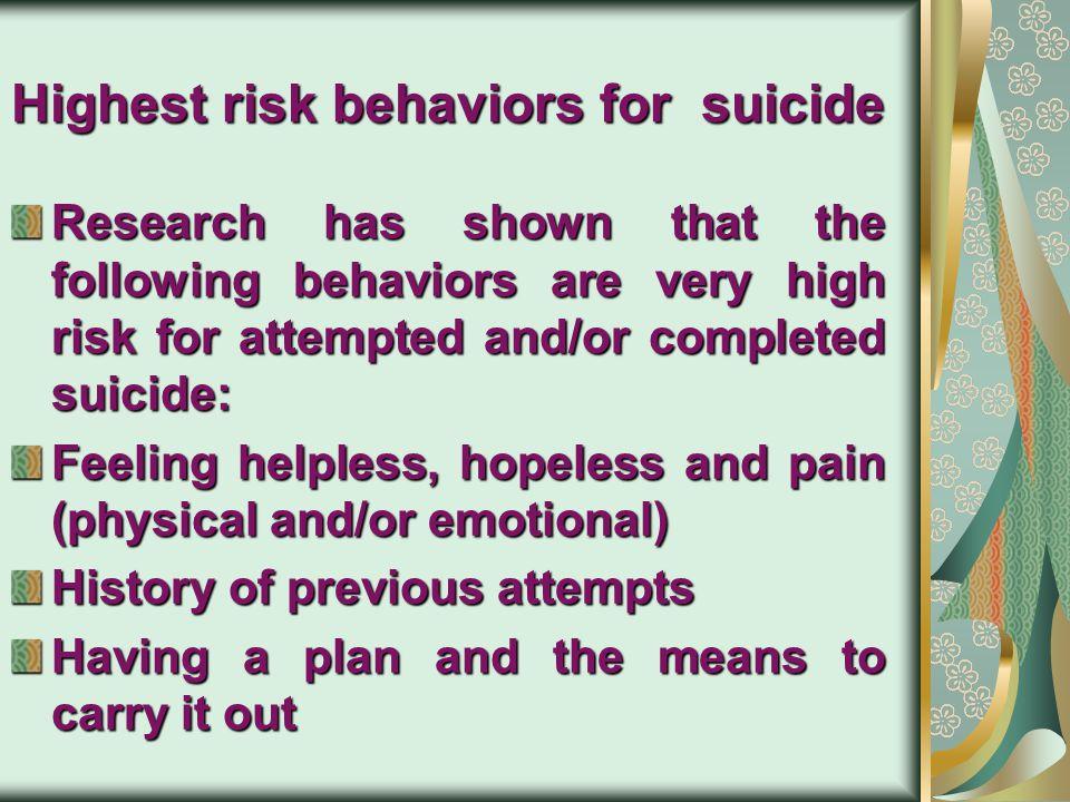 Highest risk behaviors for suicide