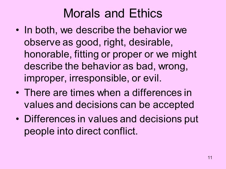 Morals and Ethics