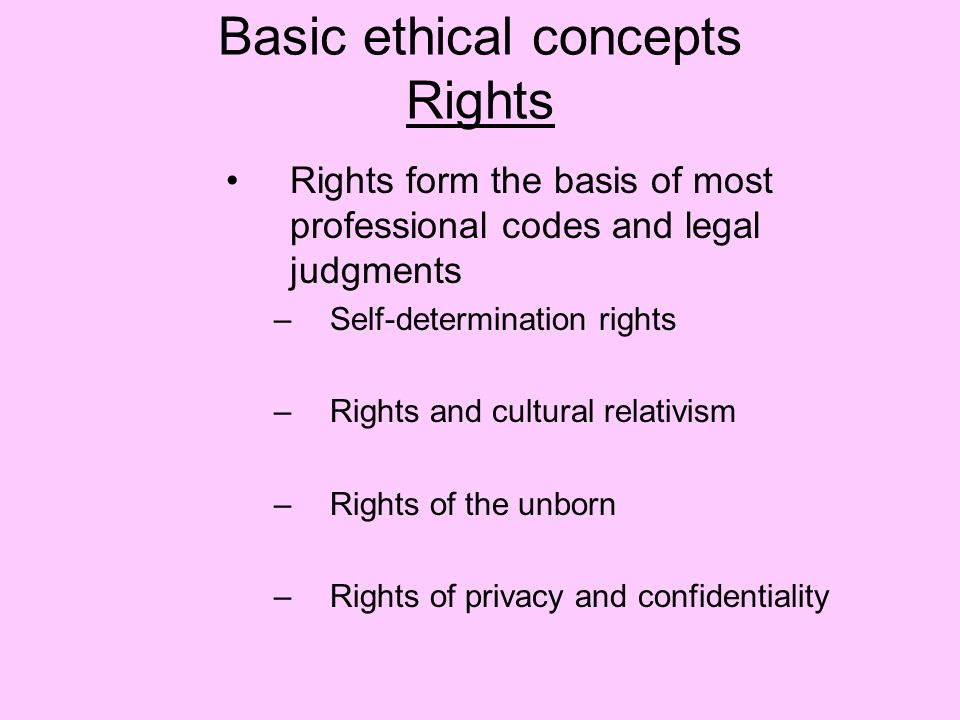 Basic ethical concepts Rights