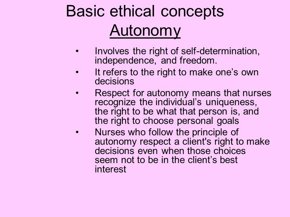 Basic ethical concepts Autonomy