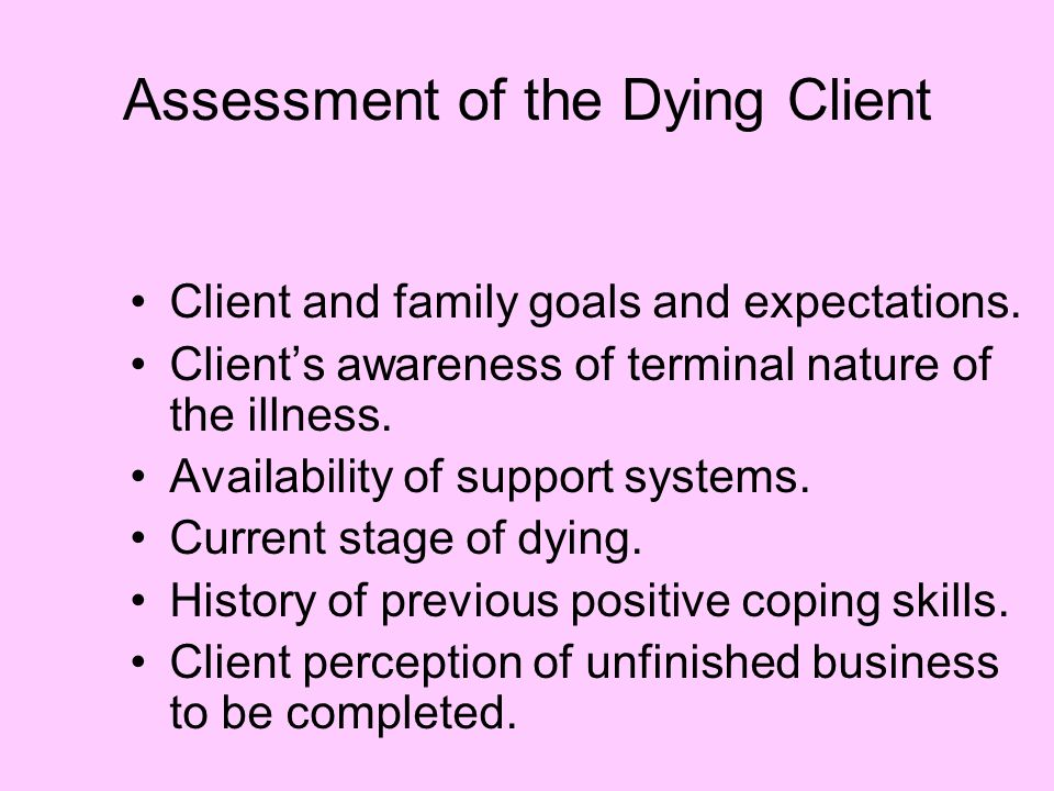 Assessment of the Dying Client
