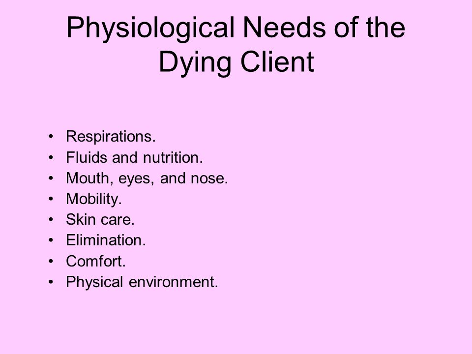Physiological Needs of the Dying Client