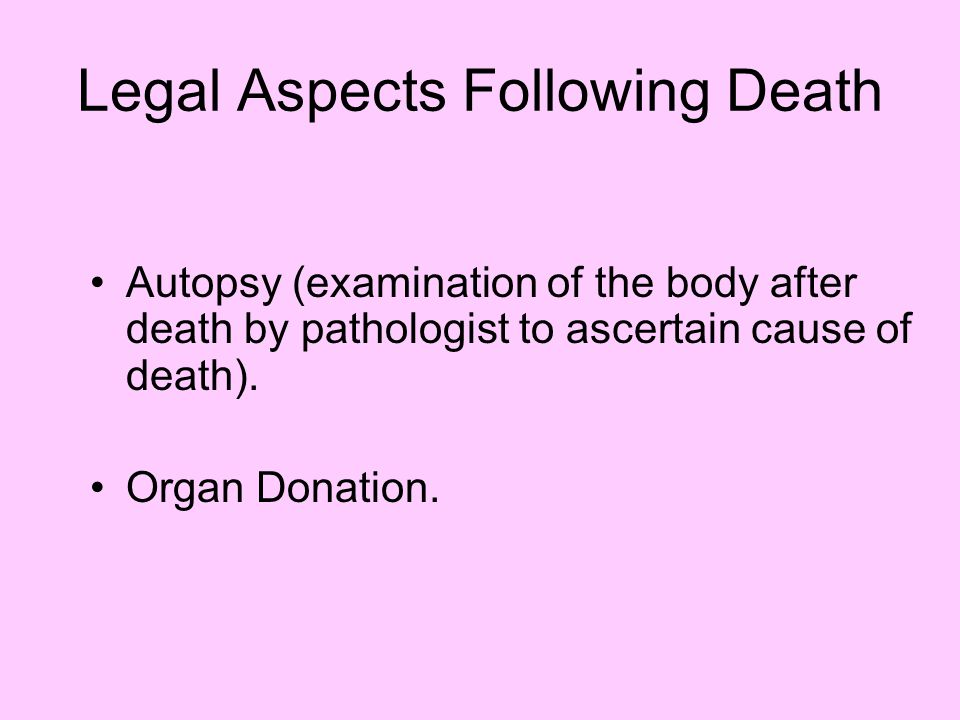 Legal Aspects Following Death