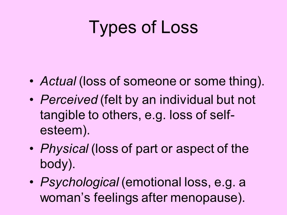 Types of Loss Actual (loss of someone or some thing).