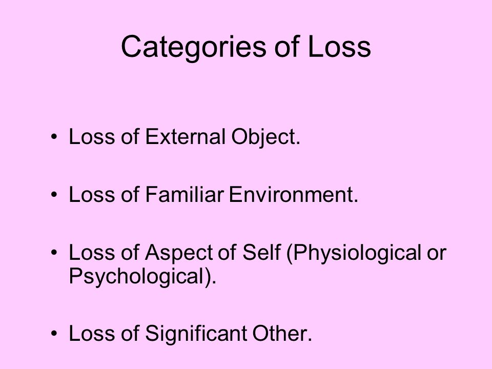 Categories of Loss Loss of External Object.