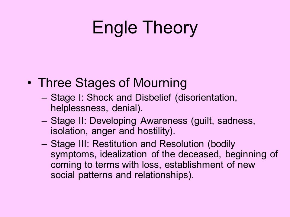 Engle Theory Three Stages of Mourning