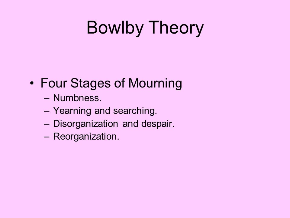 Bowlby Theory Four Stages of Mourning Numbness.