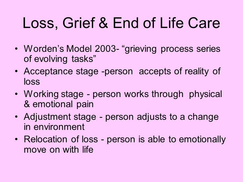 Loss, Grief & End of Life Care