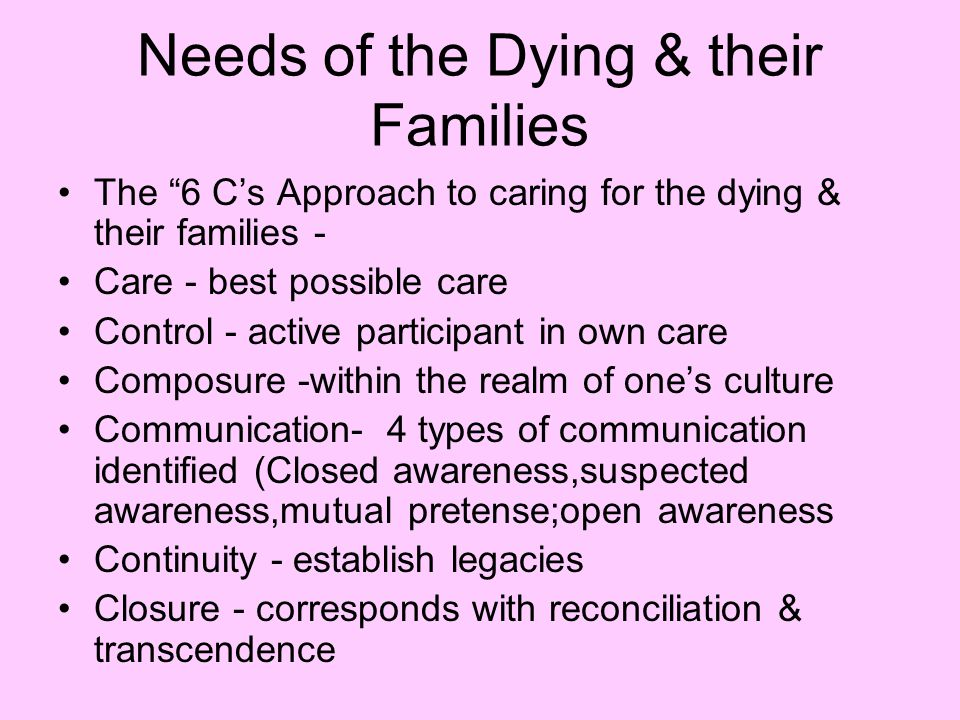 Needs of the Dying & their Families