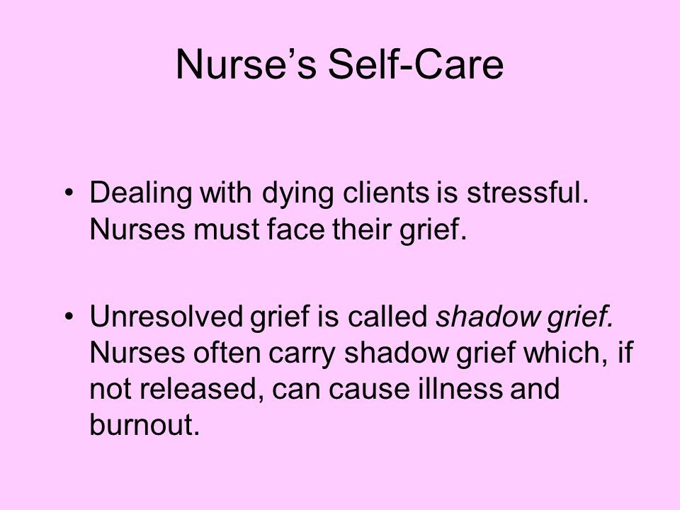 Nurse's Self-Care Dealing with dying clients is stressful. Nurses must face their grief.