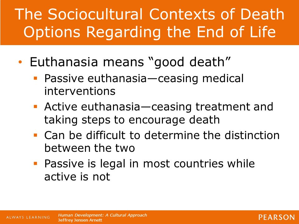 The Sociocultural Contexts of Death Options Regarding the End of Life