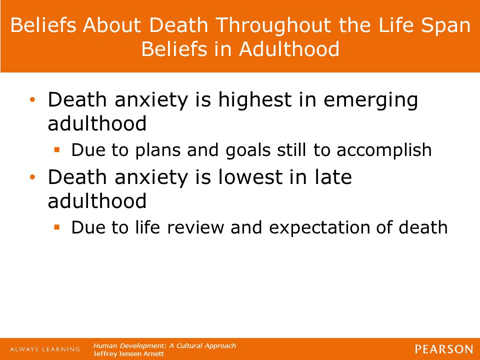 Beliefs About Death Throughout the Life Span Beliefs in Adulthood