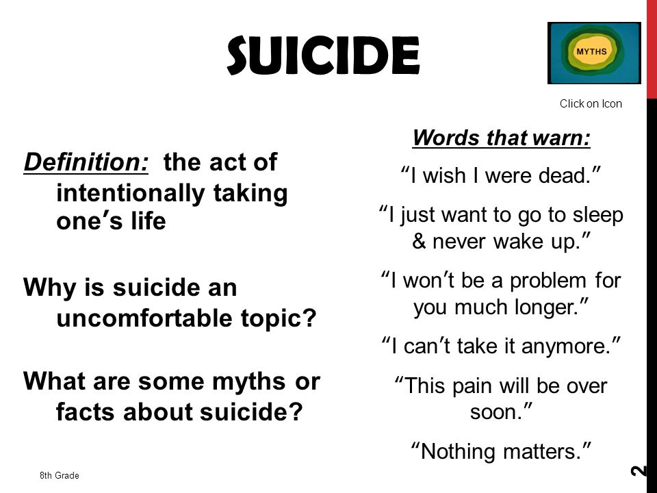 SUICIDE Click on Icon. Words that warn: I wish I were dead. I just want to go to sleep & never wake up.