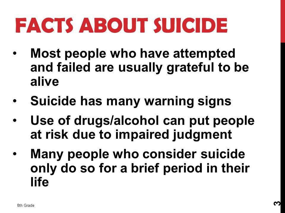 FACTS ABOUT SUICIDE Most people who have attempted and failed are usually grateful to be alive. Suicide has many warning signs.