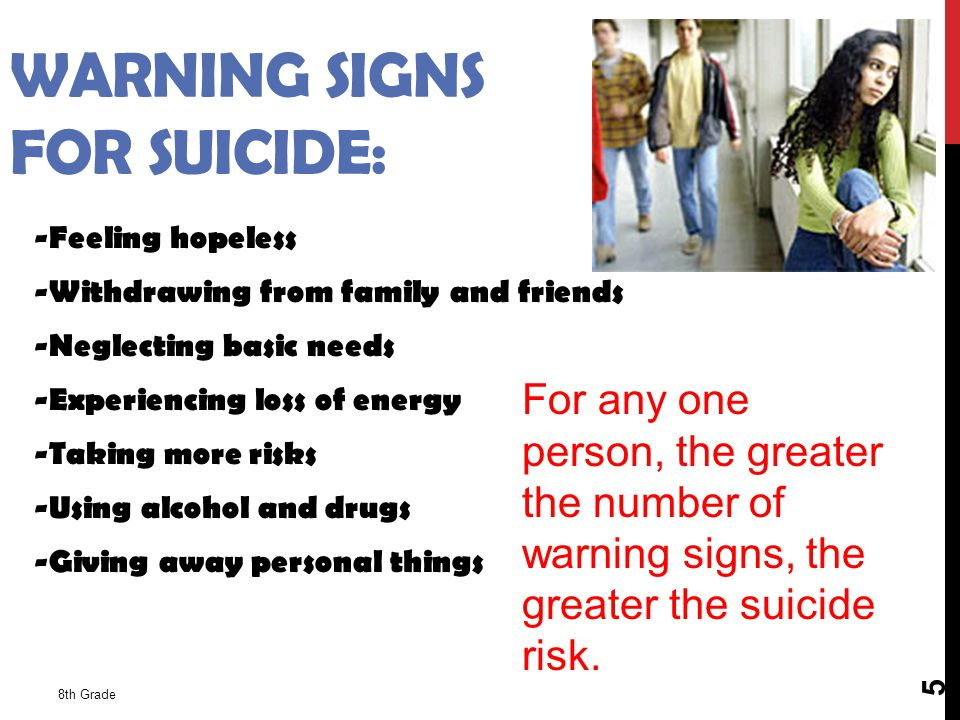 WARNING SIGNS FOR SUICIDE: