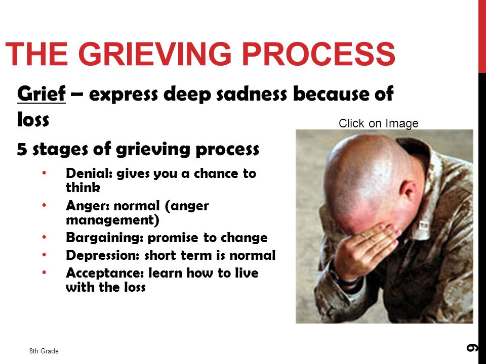 THE GRIEVING PROCESS Grief – express deep sadness because of loss