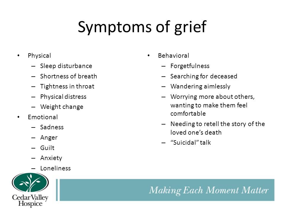 Symptoms of grief Physical Sleep disturbance Shortness of breath