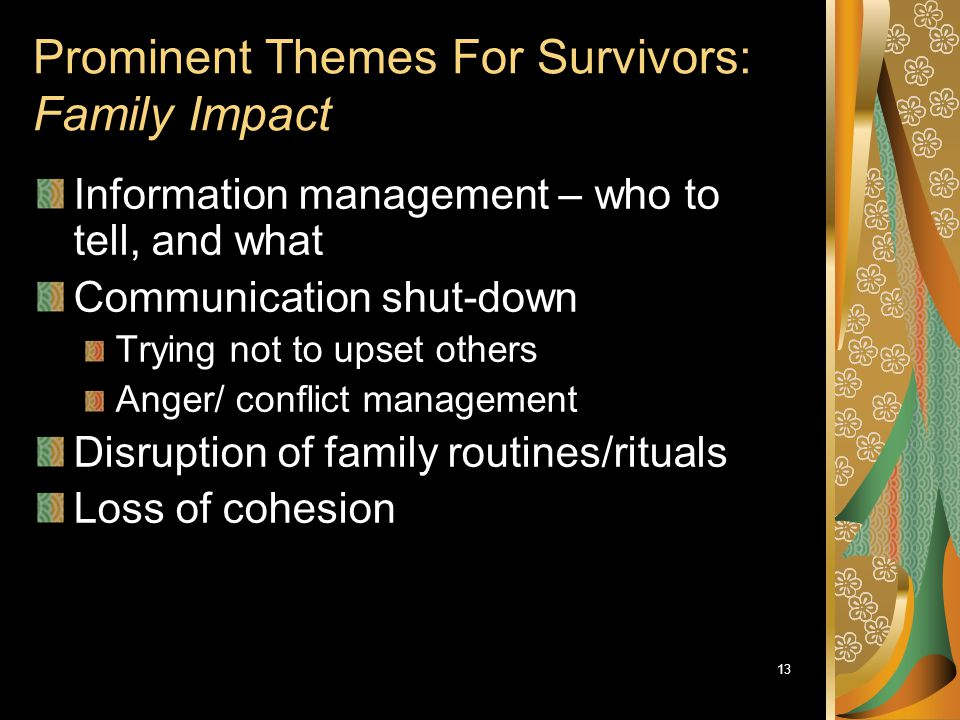 Prominent Themes For Survivors: Family Impact