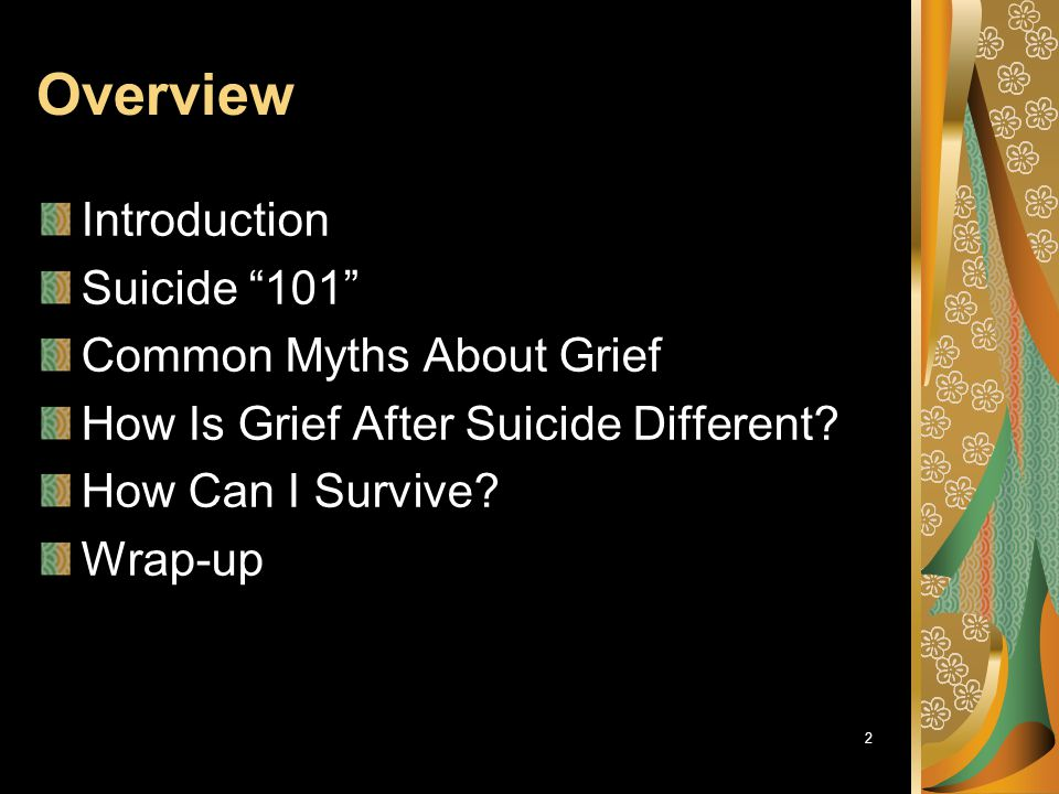 Overview Introduction Suicide 101 Common Myths About Grief