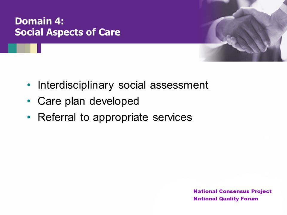 Domain 4: Social Aspects of Care