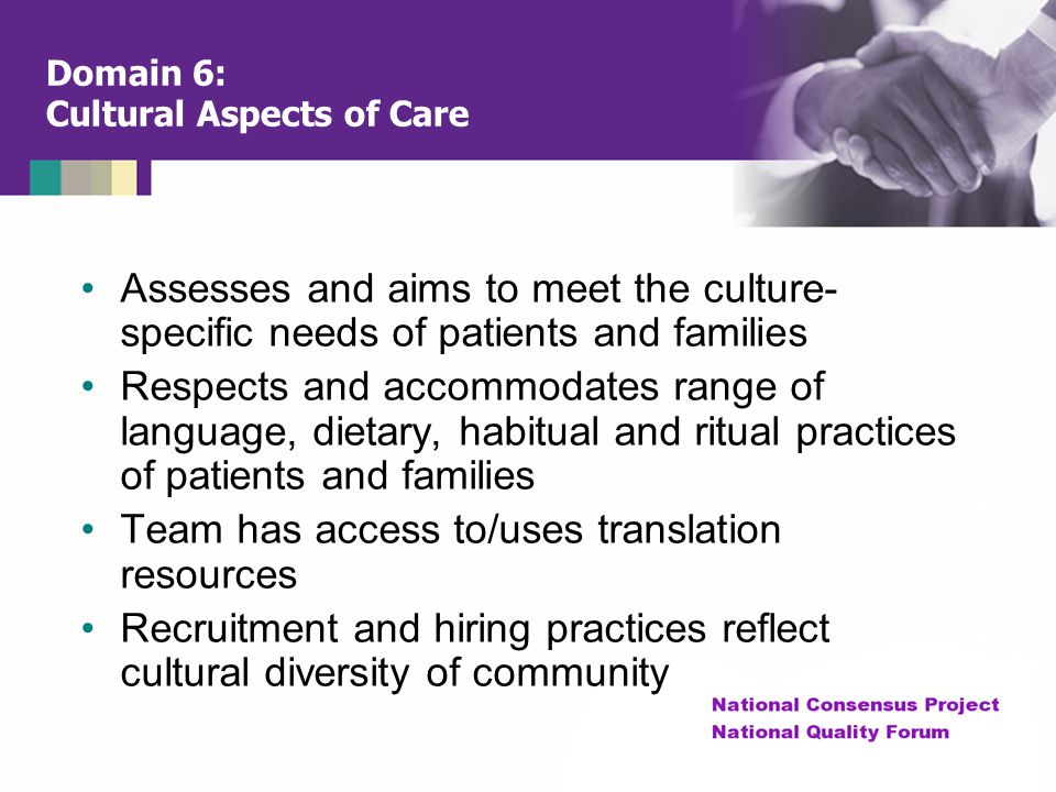 Domain 6: Cultural Aspects of Care
