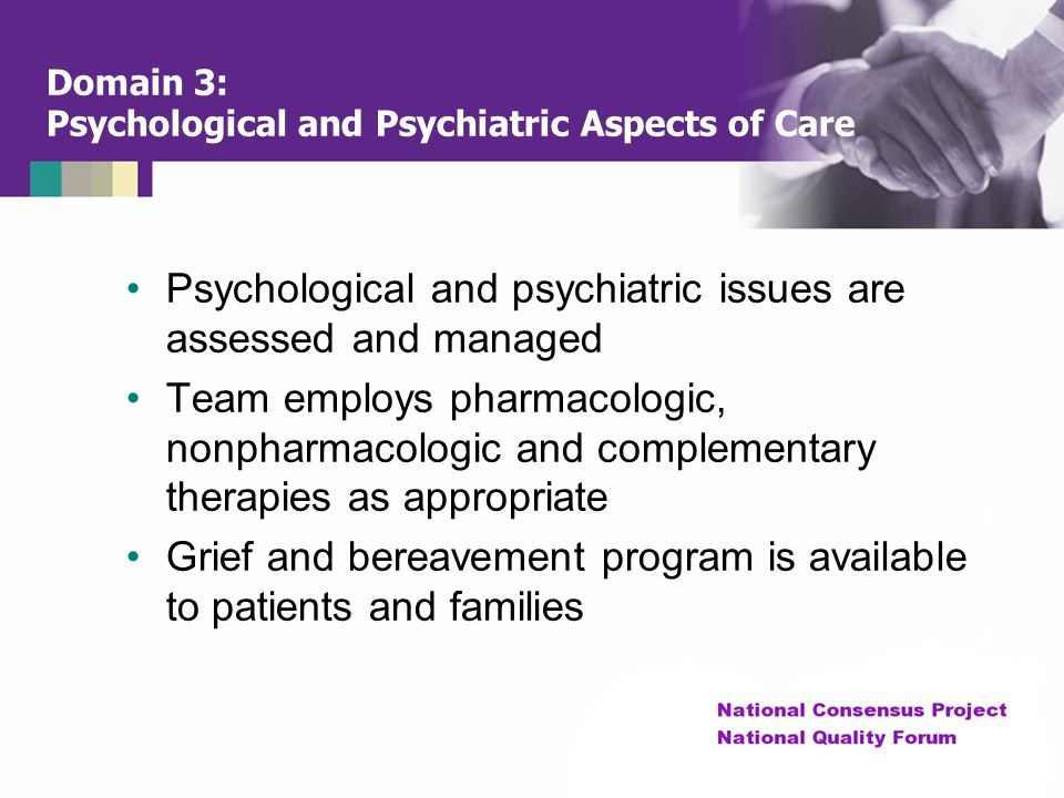 Domain 3: Psychological and Psychiatric Aspects of Care