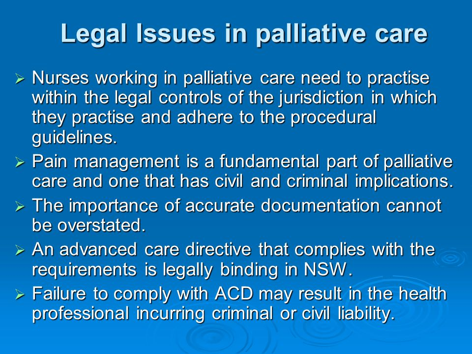 Legal Issues in palliative care