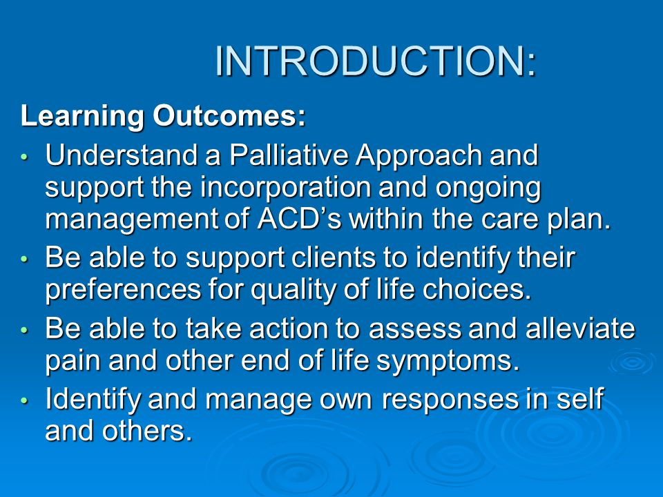 INTRODUCTION: Learning Outcomes: