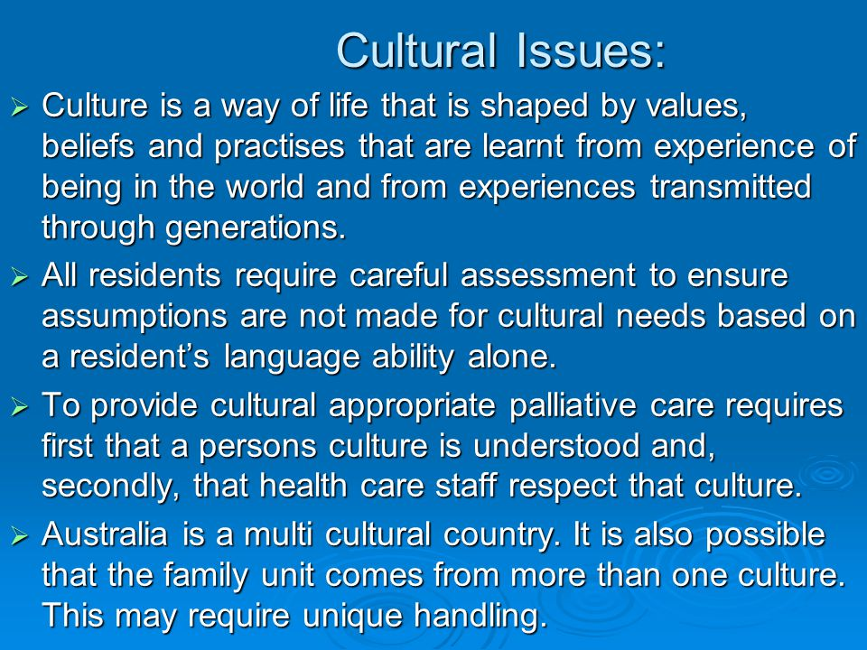 Cultural Issues: