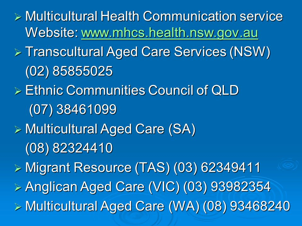 Multicultural Health Communication service Website: www. mhcs. health