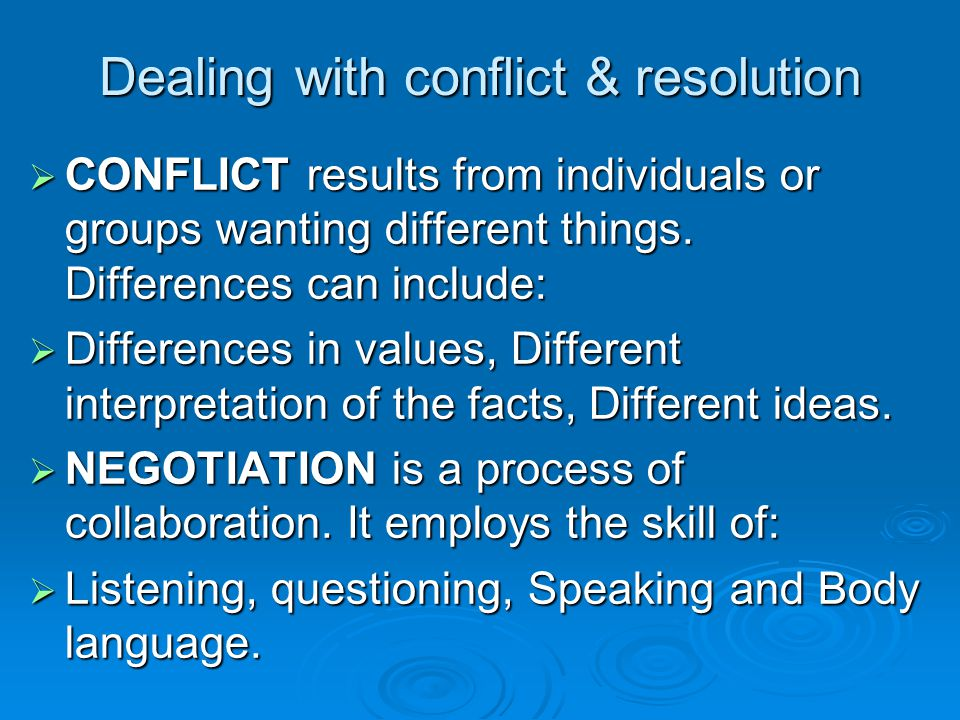 Dealing with conflict & resolution