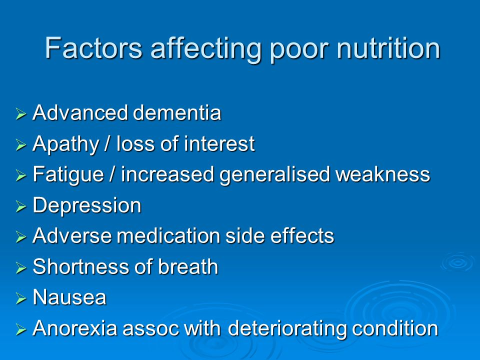 Factors affecting poor nutrition