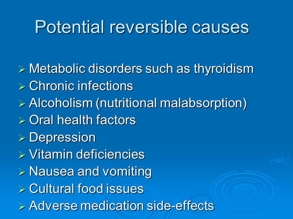 Potential reversible causes