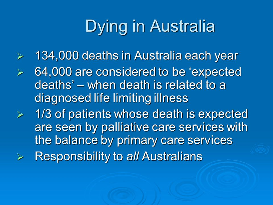 Dying in Australia 134,000 deaths in Australia each year