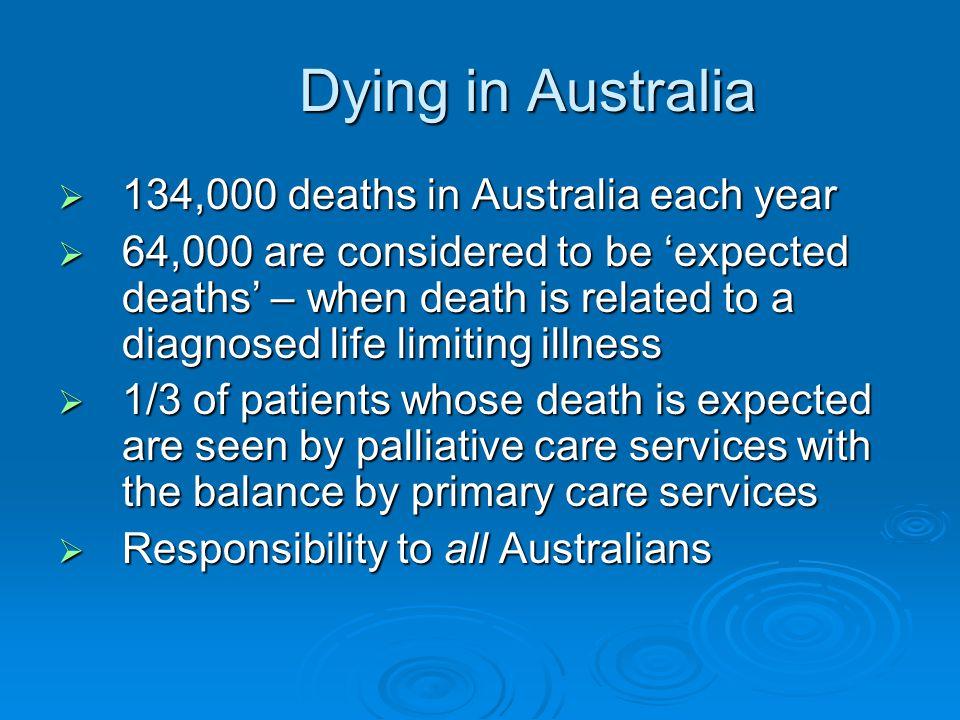 Dying in Australia 134,000 deaths in Australia each year