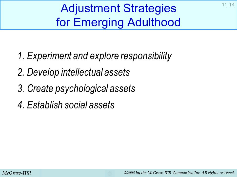 Adjustment Strategies for Emerging Adulthood