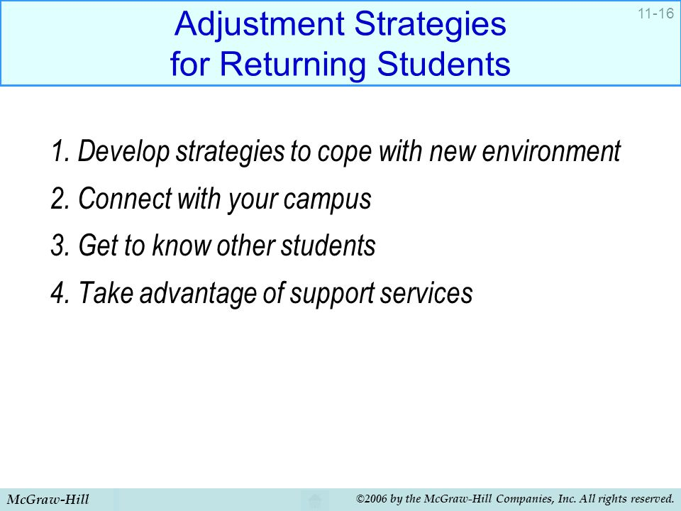 Adjustment Strategies for Returning Students