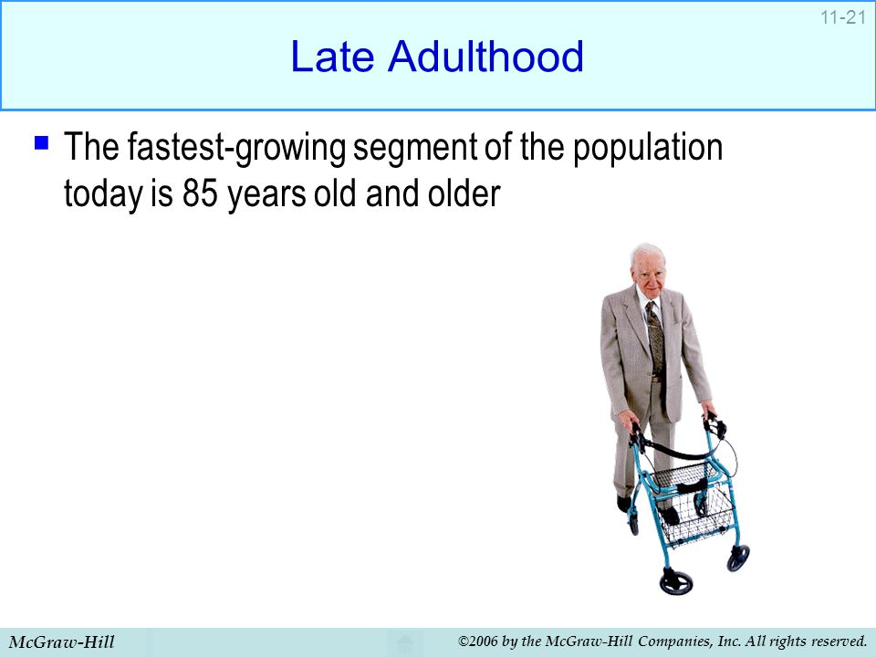Late Adulthood The fastest-growing segment of the population