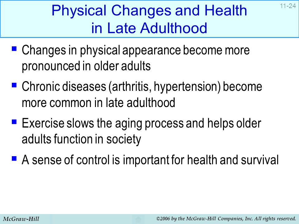 Physical Changes and Health in Late Adulthood
