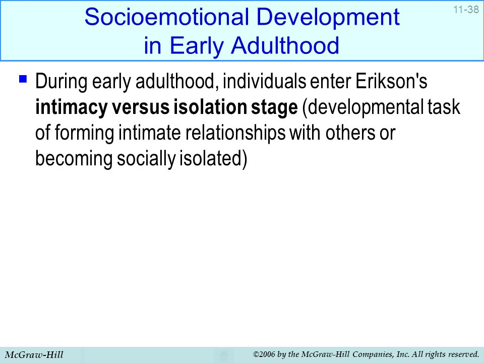 Socioemotional Development in Early Adulthood