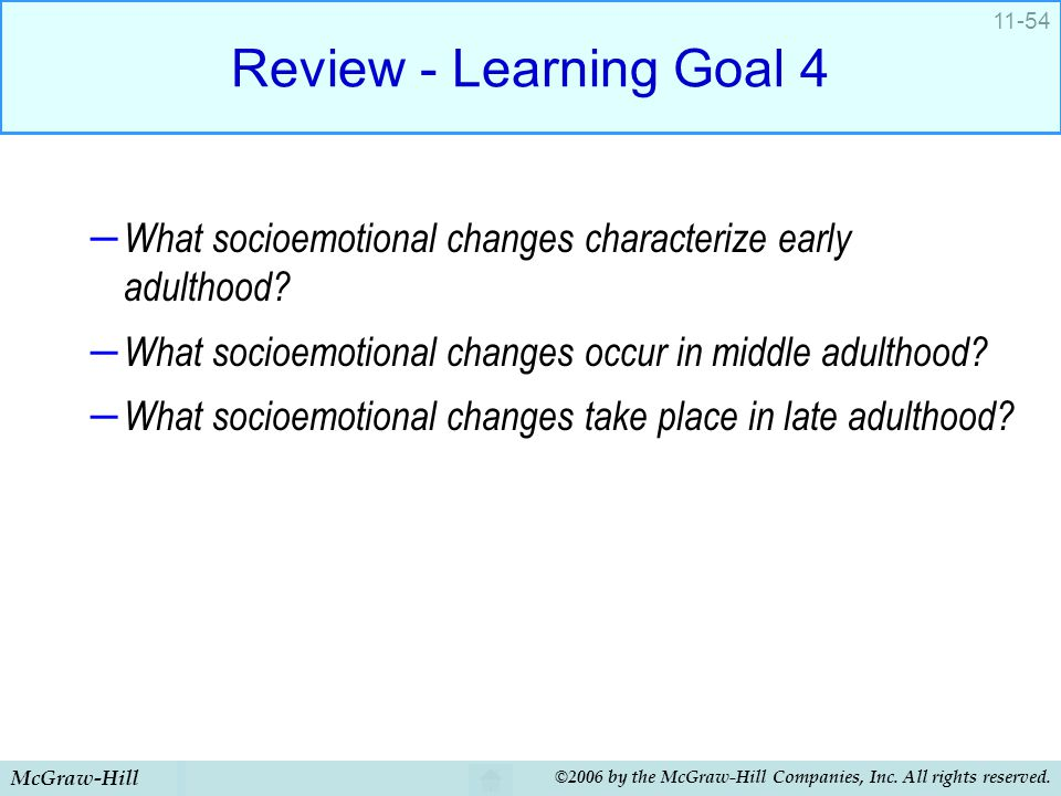 Review - Learning Goal 4 What socioemotional changes characterize early adulthood What socioemotional changes occur in middle adulthood