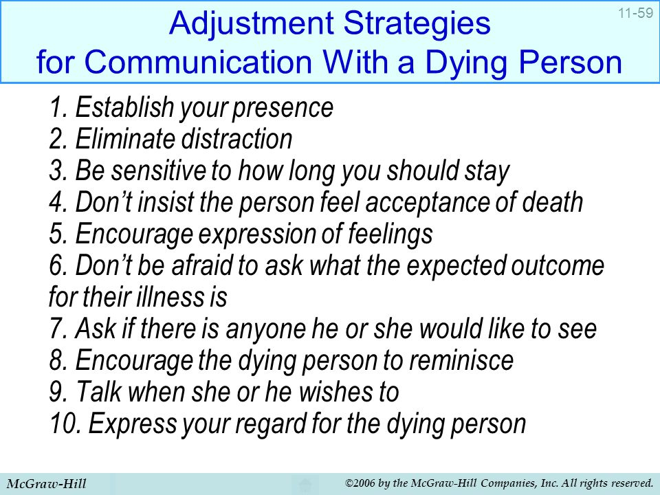 Adjustment Strategies for Communication With a Dying Person